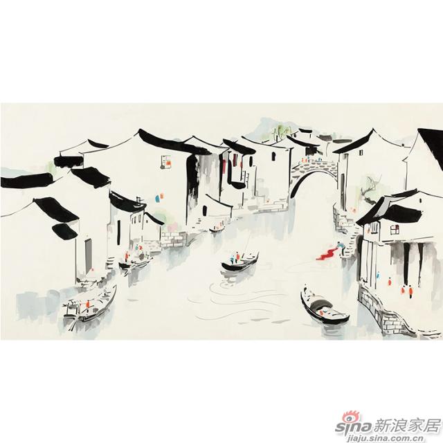 素时江南_江南小桥流水意境山水江南水墨背景壁画_JCC天洋墙布-1