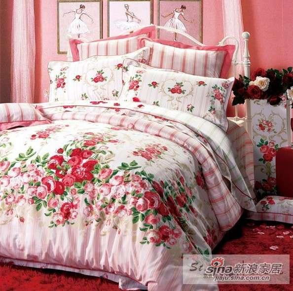 富安娜圣之花婚庆用品 全棉斜纹印花 床单四件套玫瑰园-0