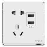 P07双USB五孔插座白色