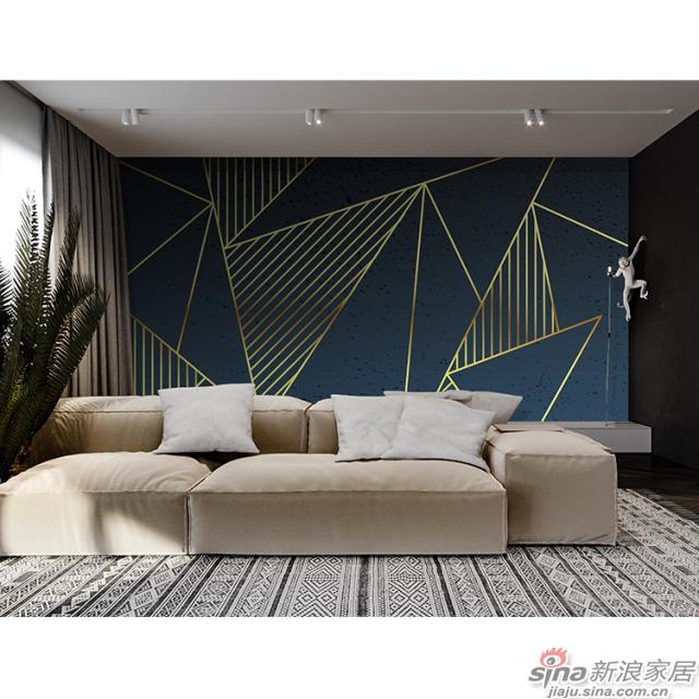 黑镜_深蓝色背景搭配金属几何线条壁画客厅、办公室壁画背景墙_JCC天洋墙布