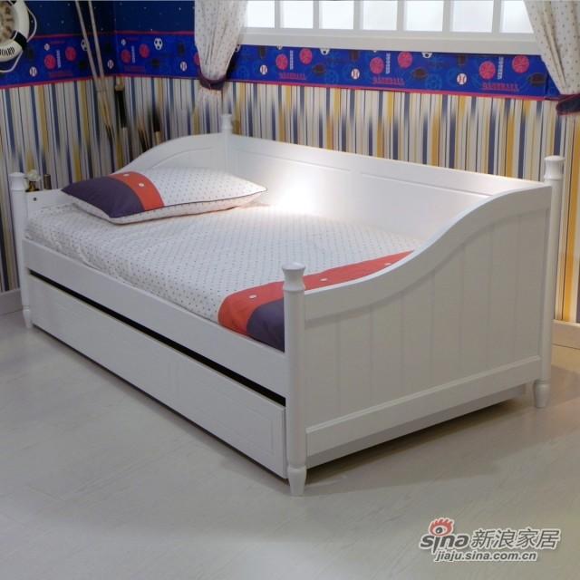 【新干线】板式1米床青少年床单层储物床欧式田园卧室家具-0