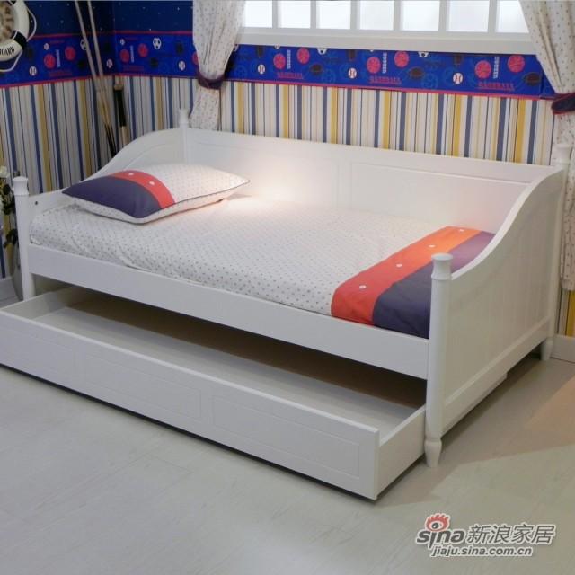 【新干线】板式1米床青少年床单层储物床欧式田园卧室家具-2