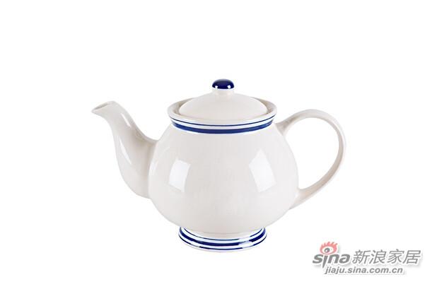 蓝边陶瓷茶壶