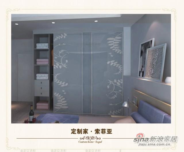 索菲亚衣柜-C3蕨叶亮灰色玻璃趟门衣柜-2