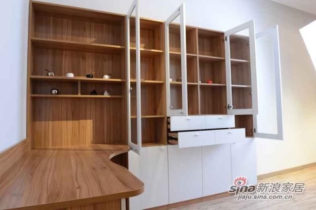 弧形优雅的书桌,简约实用的藏书柜-0