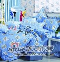 南方寝饰专柜正品儿童四件套俏皮熊粉蓝-0