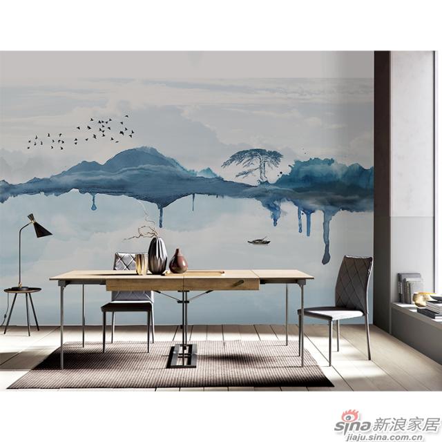 天空之镜_黛青色泼墨山水图案中式山水家装办公壁画背景_JCC天洋墙布