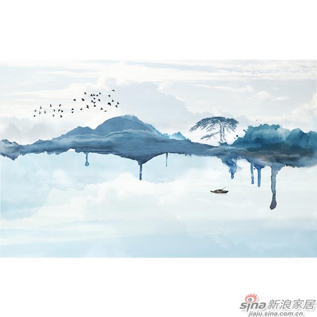 天空之镜_黛青色泼墨山水图案中式山水家装办公壁画背景_JCC天洋墙布-1