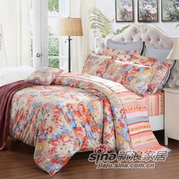 水星家纺 纯棉四件套 全棉床上用品 花卉床单被罩-0
