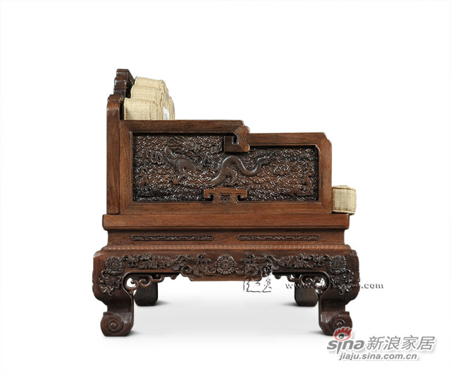 连天红云龙纹双人椅-5