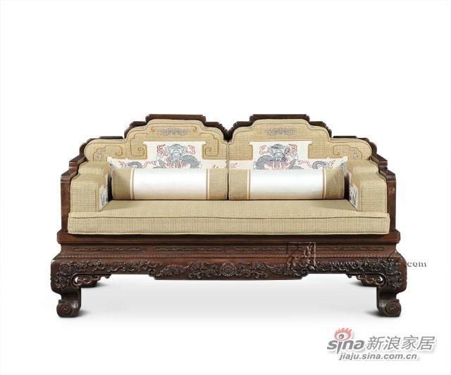 连天红云龙纹双人椅-6
