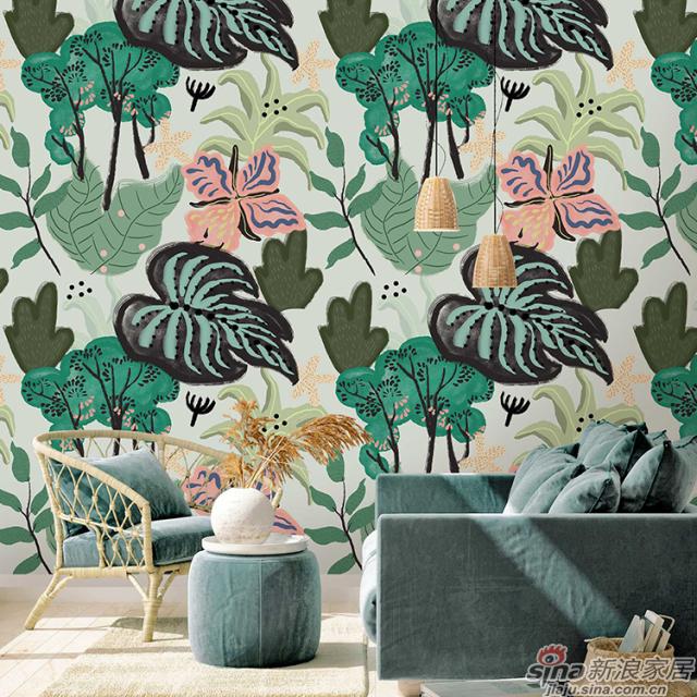 邂逅热植_绿植层层叠叠壁画简约北欧背景墙_JCC天洋墙布