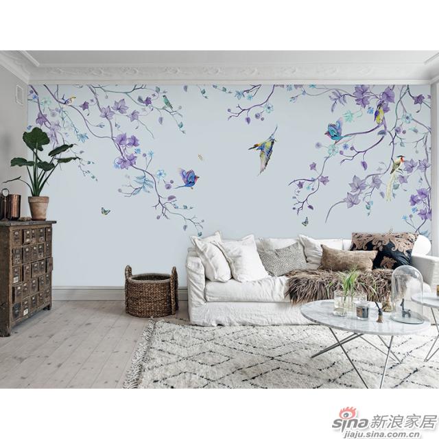 柔软时光_紫色枝蔓间鸟儿翩跹壁画自然花鸟背景墙_JCC天洋墙布