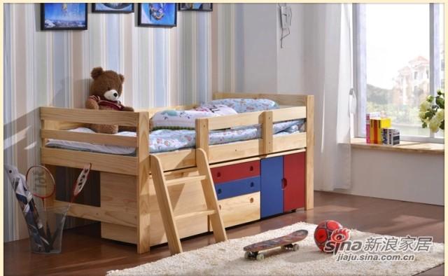 喜梦宝儿童家具 多功能儿童床男孩实木床公主女孩床带护栏 原木色-2