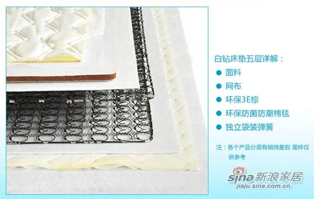 蓝鸟家具弹簧床垫 时尚床垫 可拆洗 白钻可定制环保3E棕 -2