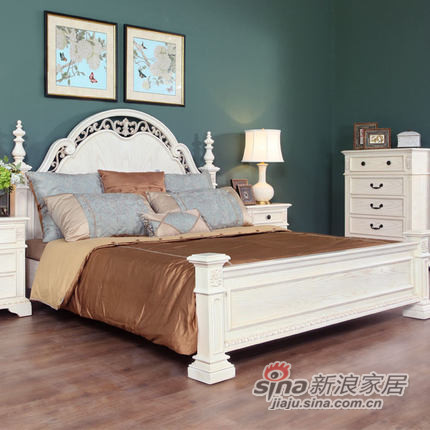 艾芙迪 卧室家具 1.8M/1.5M实木床 白色做旧 ACL51A-703M/713M