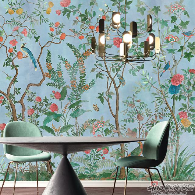 琅彩百趣园_绚丽色彩描绘百趣园中珍花奇鸟的繁华植物花鸟壁画背景_JCC天洋墙布