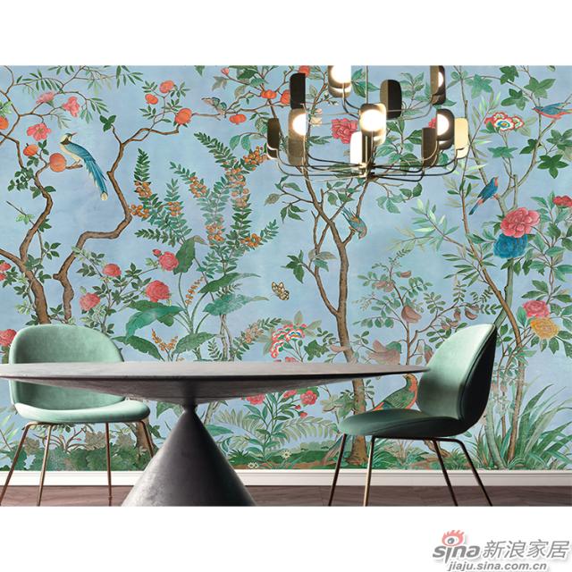 琅彩百趣园_绚丽色彩描绘百趣园中珍花奇鸟的繁华植物花鸟壁画背景_JCC天洋墙布-1