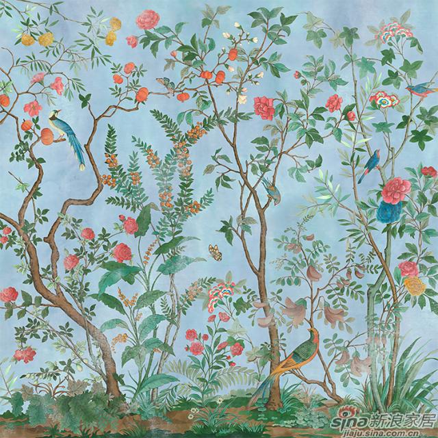 琅彩百趣园_绚丽色彩描绘百趣园中珍花奇鸟的繁华植物花鸟壁画背景_JCC天洋墙布-2