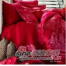 紫罗兰家纺婚庆大红十件套花香情丝PC1003-10-0
