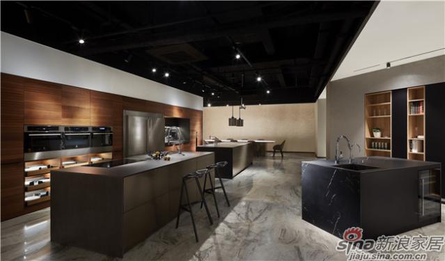 特铭家居纯哑黑色橡木纹厨房系统