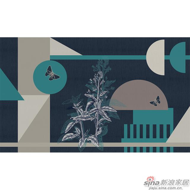 几何物语_深蓝色调几何图形壁画欧式风格背景墙_JCC天洋墙布