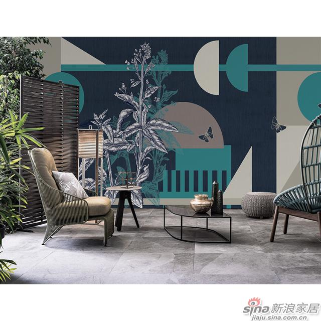 几何物语_深蓝色调几何图形壁画欧式风格背景墙_JCC天洋墙布-3