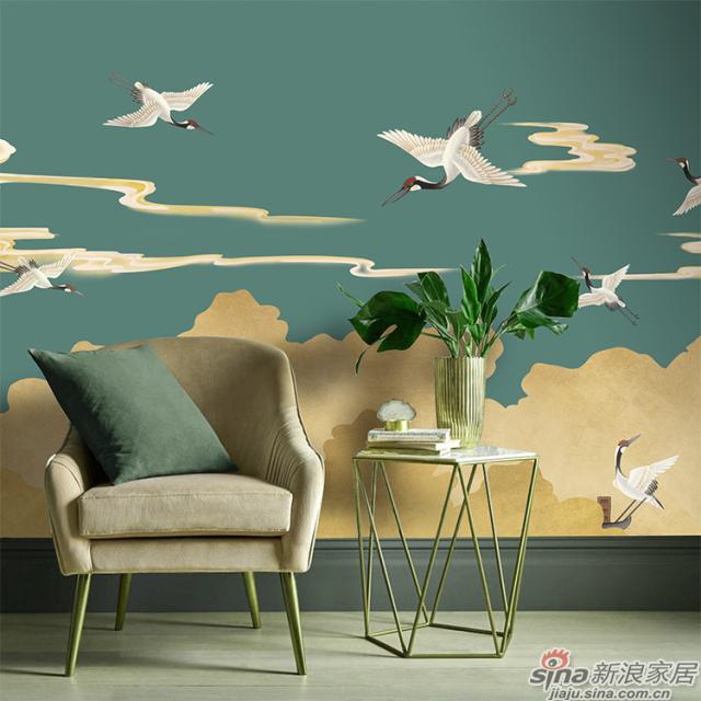 祥云飞鹤_仙鹤在祥云中飞翔靛蓝色壁画中式花鸟风格背景墙_JCC天洋墙布