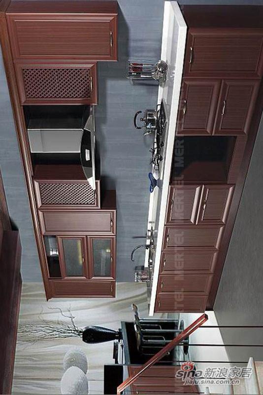 新中式古典实木橱柜 一字型整体橱柜效果图-0