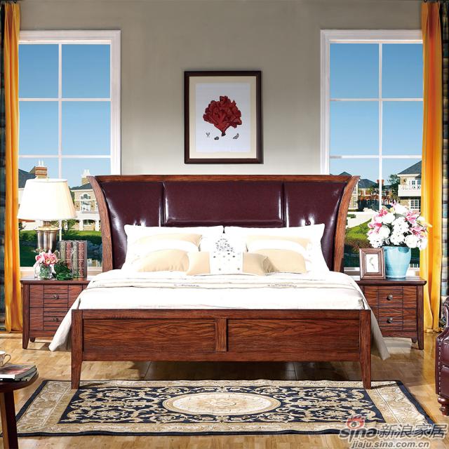 巴克庄园S5011#1.8米皮床、s5015#床头柜