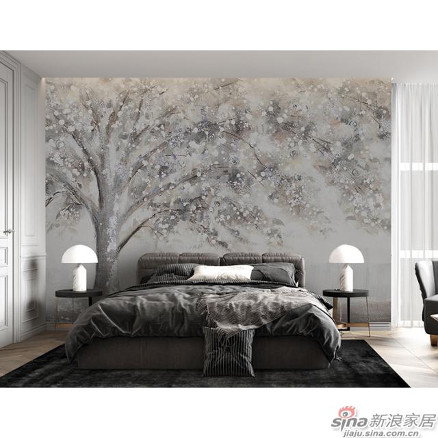 灿烂千阳_像盛开的樱花树又像雪树壁画欧式风格背景墙_JCC天洋墙布