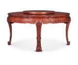 连天红西番莲纹圆桌