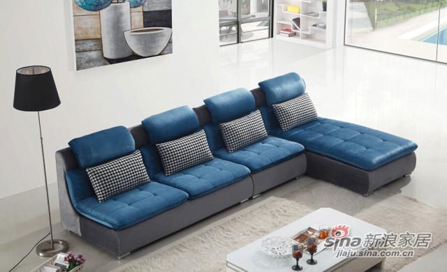 梵尔特蓝色绒布布艺沙发组合