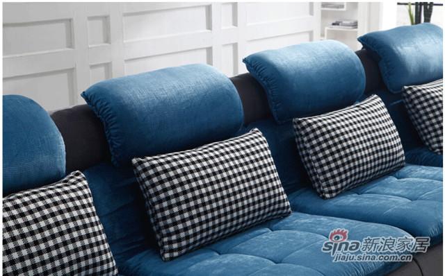 梵尔特蓝色绒布布艺沙发组合 -3