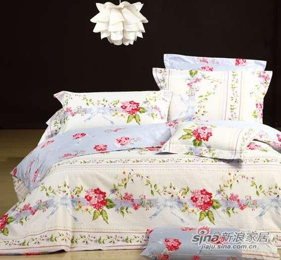 富安娜圣之花缎纹印花床单四件套春色怡人-0