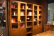 木纹色多功能拼框门书柜 半开放式藏书柜