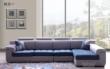 蓝色+灰色绒布布艺沙发组合