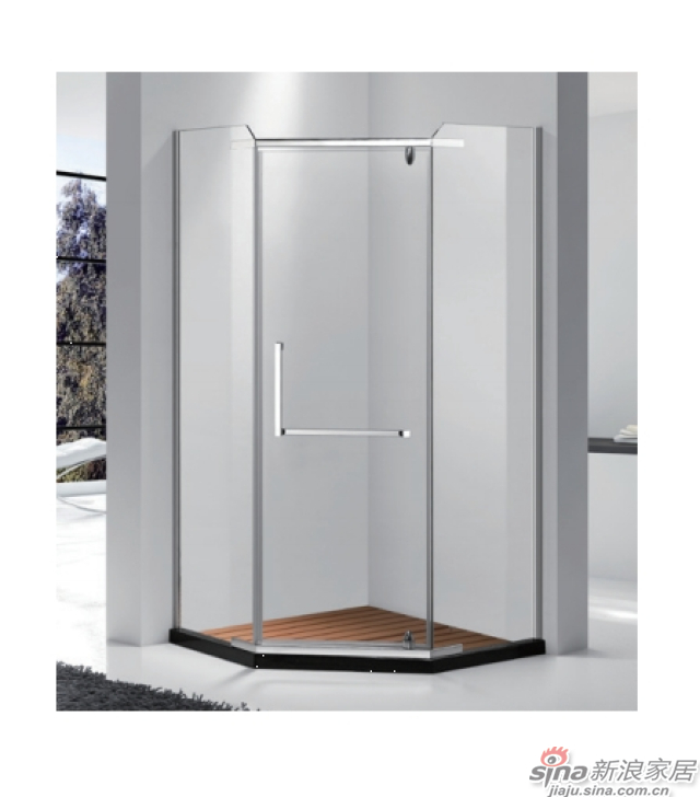 SH2-3221Z钻石型二固一开沐浴房(不锈钢)
