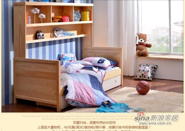 喜梦宝 实木家具韩式实木床1米单人床松木床儿童床储物床书架抽屉-1