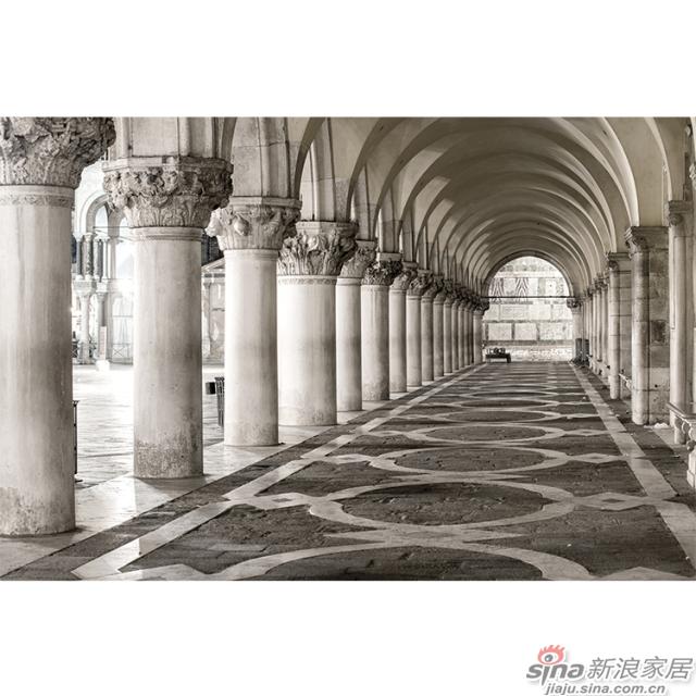 廊桥遗梦_棕黄底色文艺复兴及建筑长廊壁画欧式风格背景墙_JCC天洋墙布