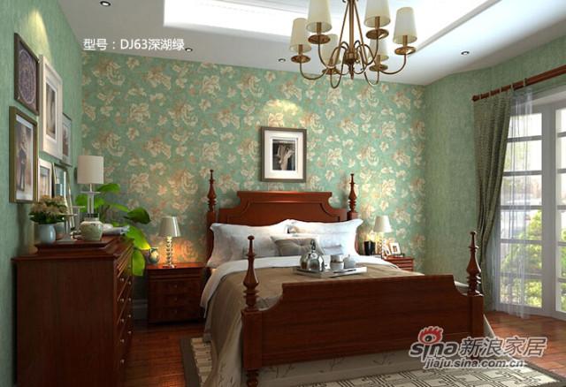 爱舍美式田园复古怀旧莨苕叶绿色卧室背景壁纸 -2