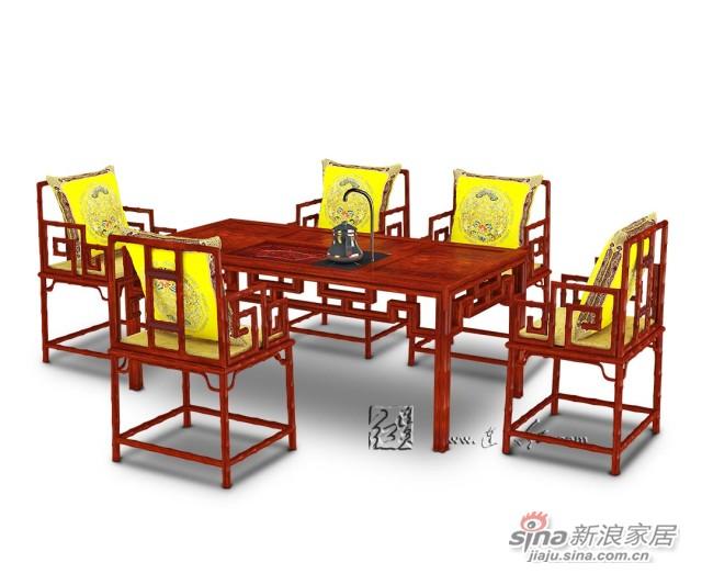 连天红竹节茶桌-4