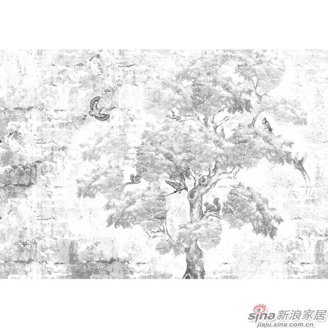 休憩森林_素描笔法描绘的茂密森林壁画自然花鸟背景墙_JCC天洋墙布