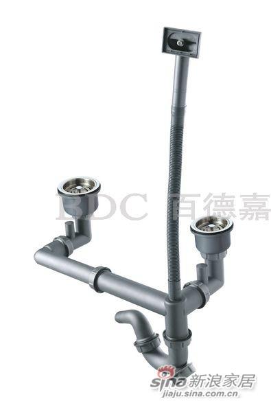 百德嘉五金龙头挂件-H765002双盆全钢下水器-0