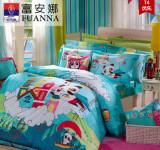 富安娜家纺 全棉床上用品双人四件套纯棉熊猫儿童套件