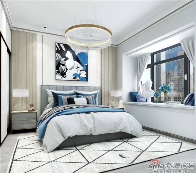 卧室:主卧延续了客餐厅空间静谧的蓝调,简约大方的背景墙素雅质璞,清冷淡然的气氛快速浸染每一颗落于其间的心灵,让你回归宁静,一夜好眠。