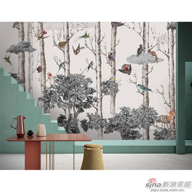 森林逸趣_灰白色树干上群鸟私语壁画自然花鸟背景墙_JCC天洋墙布