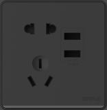 P07双USB五孔插座黑色