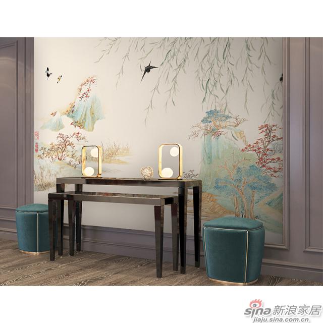 柳岸风斜_古柳堤长,寒烟不起壁画中式花鸟风格背景墙_JCC天洋墙布