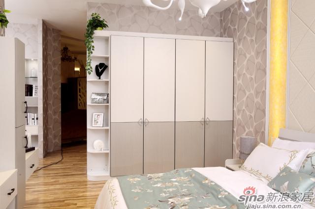 合生雅居米兰白布纹+经典灰布纹平开门衣柜-5